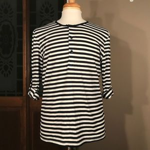 NWOT - H&M Striped Henley w/ Roll-Tab Sleeves